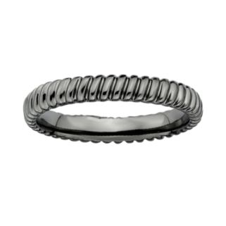 Stacks and Stones Ruthenium-Plated Sterling Silver Ribbed Stack Ring