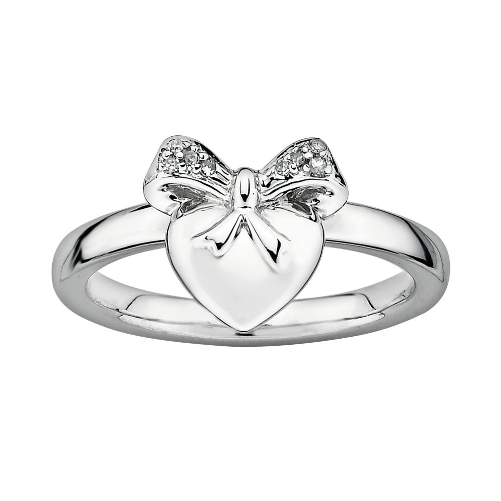 Stacks & Stones Sterling Silver Diamond Accent Heart & Bow Stack Ring