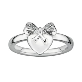 Stacks and Stones Sterling Silver Diamond Accent Heart and Bow Stack Ring