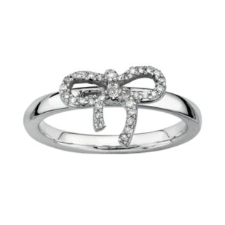 Stacks and Stones Sterling Silver 1/10-ct. T.W. Diamond Bow Stack Ring