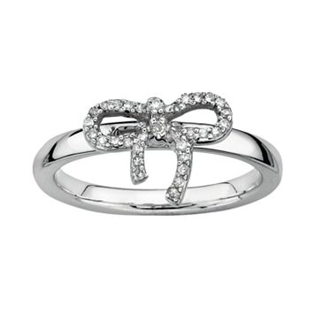 Stacks & Stones Sterling Silver 1/10-ct. T.W. Diamond Bow Stack Ring