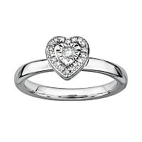 Stacks & Stones Sterling Silver 1/8-ct. T.W. Diamond Framed Heart Stack Ring