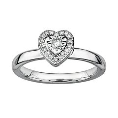 Stacks & Stones Sterling Silver 1/8 ctT.W. Diamond Framed Heart Stack Ring