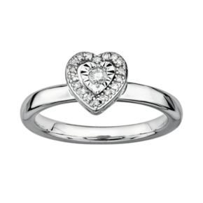 Stacks and Stones Sterling Silver 1/8-ct. T.W. Diamond Framed Heart Stack Ring