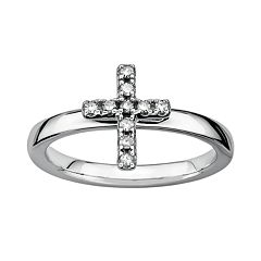 Stacks & Stones Sterling Silver 1/10 ctT.W. Diamond Cross Stack Ring