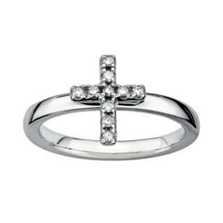 Stacks and Stones Sterling Silver 1/10-ct. T.W. Diamond Cross Stack Ring
