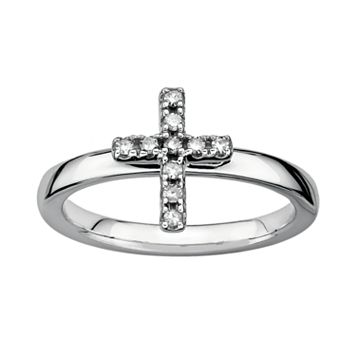 Stacks & Stones Sterling Silver 1/10-ct. T.W. Diamond Cross Stack Ring