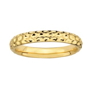 Stacks and Stones 18k Gold Over Silver Hammered Stack Ring