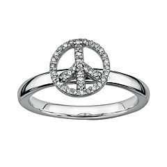 Stacks & Stones Sterling Silver 1/8 ctT.W. Diamond Peace Sign Stack Ring