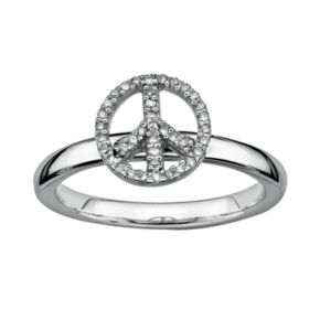 Stacks and Stones Sterling Silver 1/8-ct. T.W. Diamond Peace Sign Stack Ring