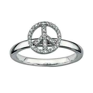 Stacks & Stones Sterling Silver 1/8-ct. T.W. Diamond Peace Sign Stack Ring