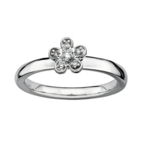 Stacks and Stones Sterling Silver Diamond Accent Flower Stack Ring