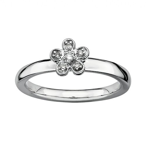 Stacks & Stones Sterling Silver Diamond Accent Flower Stack Ring