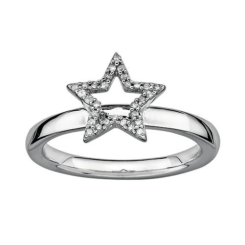 Stacks & Stones Sterling Silver 1/10-ct. T.W. Diamond Star Stack Ring