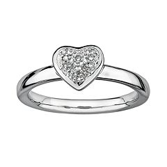 Stacks & Stones Sterling Silver Diamond Accent Heart Stack Ring