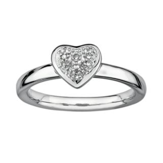 Stacks and Stones Sterling Silver Diamond Accent Heart Stack Ring