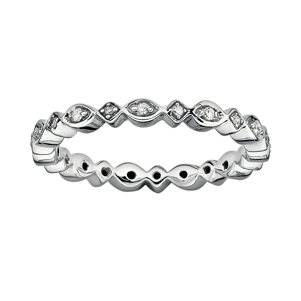 Stacks & Stones Sterling Silver Diamond Accent Eternity Stack Ring