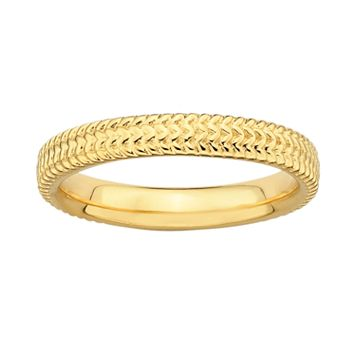 Stacks & Stones 18k Gold Over Silver Textured Stack Ring
