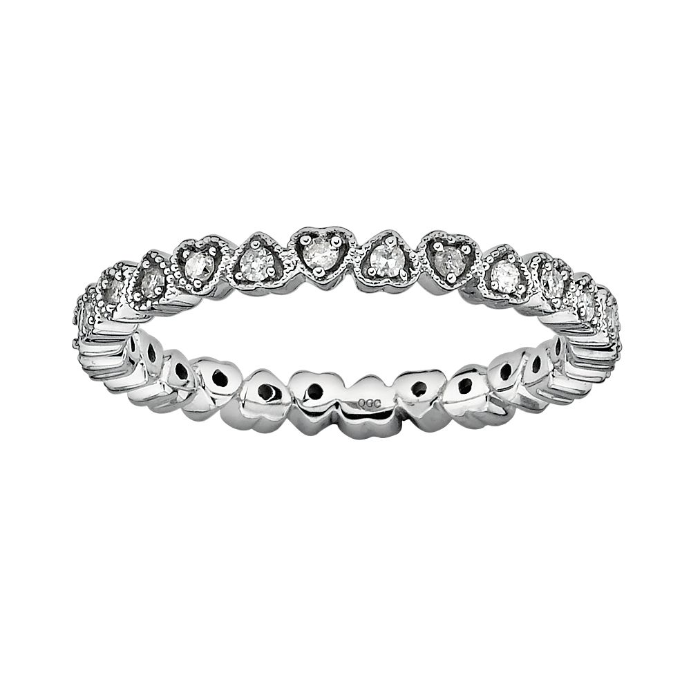 Stacks & Stones Sterling Silver 1/4-ct. T.W. Diamond Heart Eternity Stack Ring