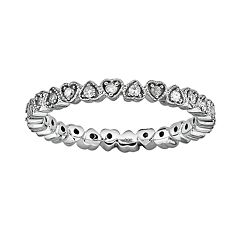 Stacks & Stones Sterling Silver 1/4 ctT.W. Diamond Heart Eternity Stack Ring