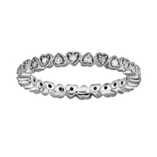 Stacks and Stones Sterling Silver 1/4-ct. T.W. Diamond Heart Eternity Stack Ring