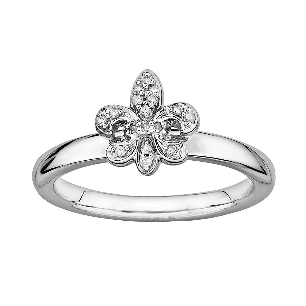 Stacks & Stones Sterling Silver Diamond Accent Fleur-de-Lis Stack Ring