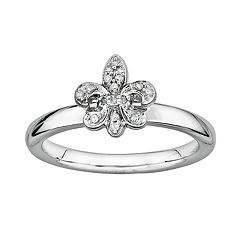 Stacks & Stones Sterling Silver Diamond Accent Fleur-de-Lis Stack Ring