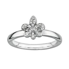 Stacks and Stones Sterling Silver Diamond Accent Fleur-de-Lis Stack Ring