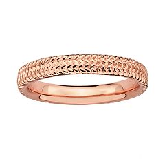Stacks & Stones 18k Rose Gold Over Silver Textured Stack Ring