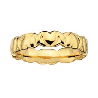 Stacks and Stones 18k Gold Over Silver Heart Stack Ring