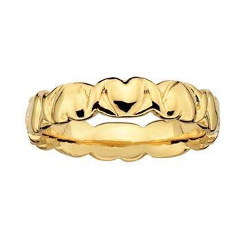 Stacks & Stones 18k Gold Over Silver Heart Stack Ring