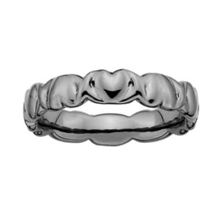 Stacks and Stones Ruthenium-Plated Sterling Silver Heart Stack Ring