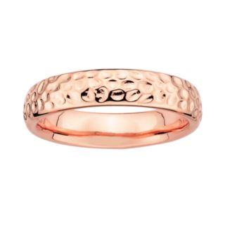 Stacks and Stones 18k Rose Gold Over Silver Hammered Stack Ring