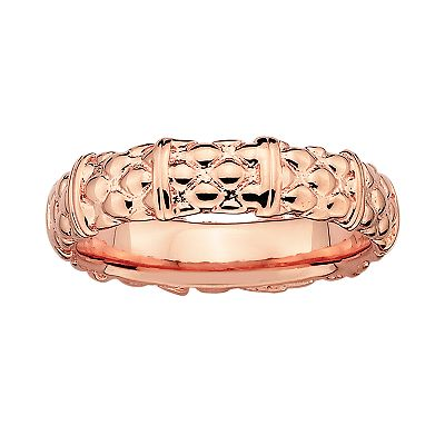 Stacks and Stones 18k Rose Gold Over Silver Textured Stack Ring