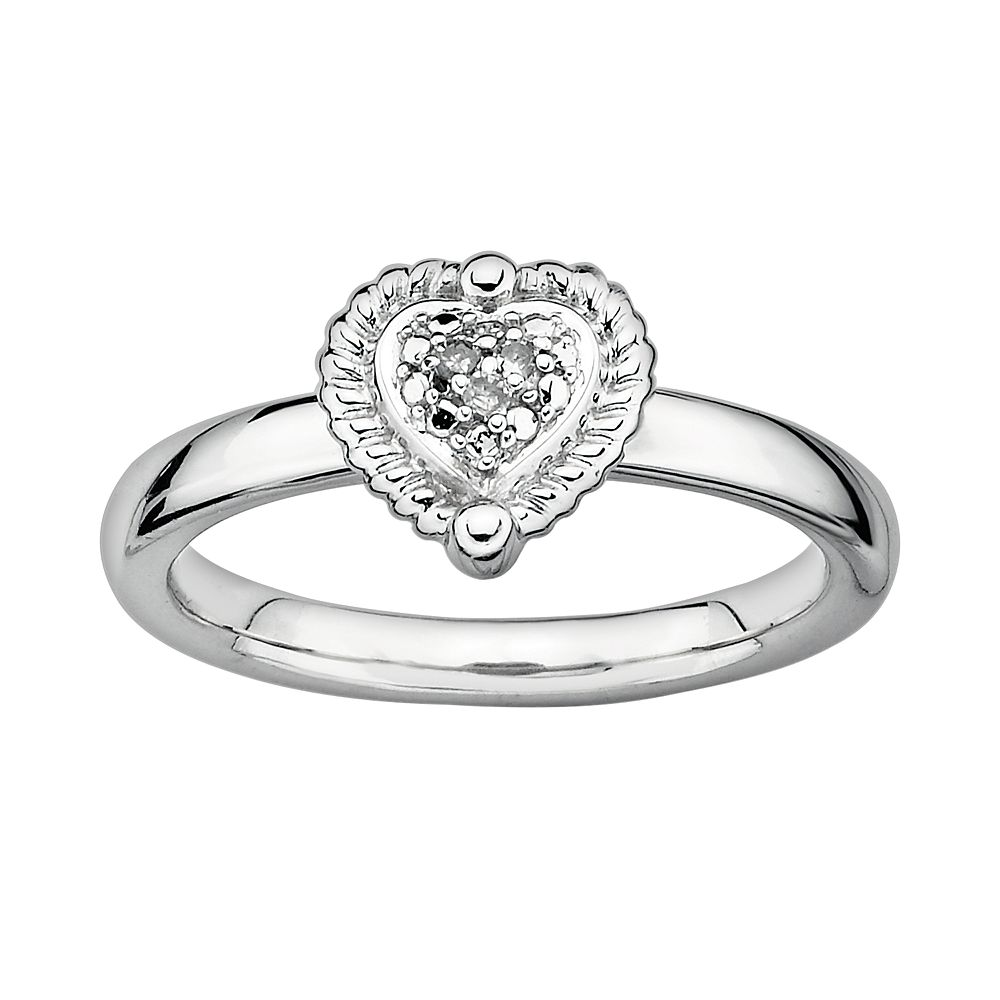 Stacks & Stones Sterling Silver Diamond Accent Framed Heart Stack Ring