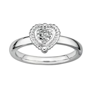 Stacks and Stones Sterling Silver Diamond Accent Framed Heart Stack Ring