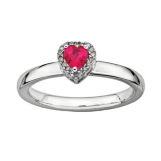 Stacks and Stones Sterling Silver Lab-Created Ruby and Diamond Accent Heart Stack Ring