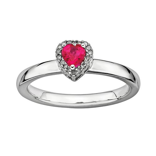 Stacks & Stones Sterling Silver Lab-Created Ruby & Diamond Accent Heart Stack Ring