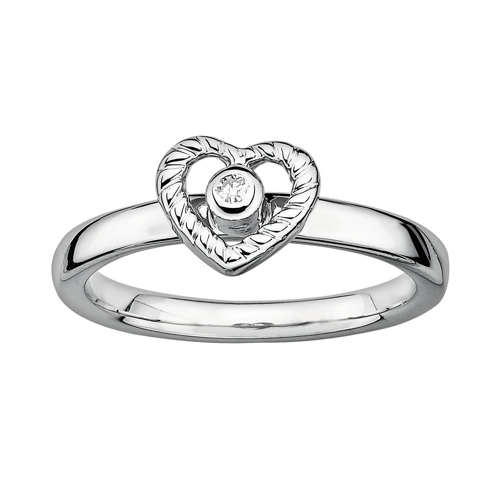 Stacks & Stones Sterling Silver Diamond Accent Openwork Heart Stack Ring