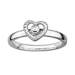 Stacks and Stones Sterling Silver Diamond Accent Openwork Heart Stack Ring