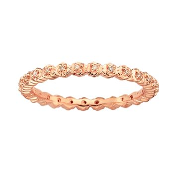 Stacks & Stones 18k Rose Gold Over Silver Diamond Accent Stack Ring