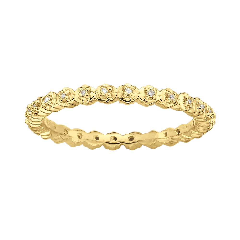 Stacks & Stones 18k Gold Over Silver Diamond Accent Stack Ring