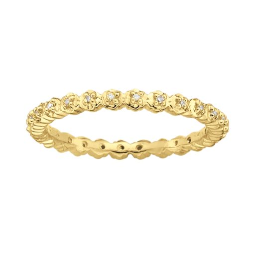 Stacks and Stones 18k Gold Over Silver Diamond Accent Stack Ring