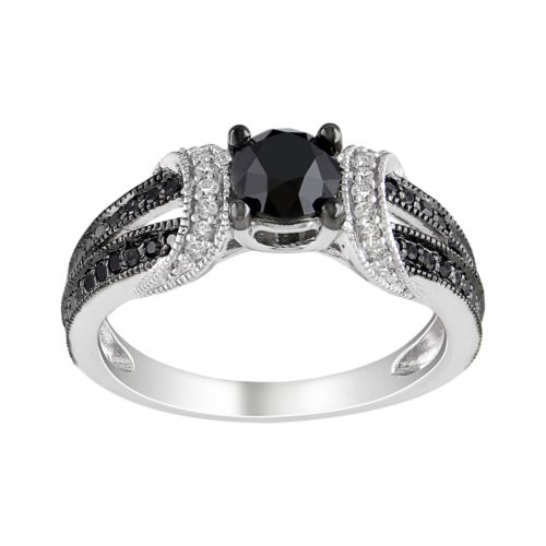 Sterling Silver 1-ct. T.W. Black and White Round-Cut Diamond Ring