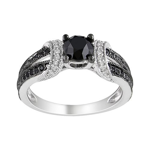 Stella Grace Sterling Silver 1 Carat T.W. Black & White Diamond Wedding Ring