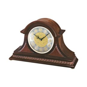 Seiko Oak and Brass Tambour Clock - QXJ003BLH