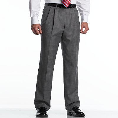 Chaps Gray Sharkskin Wool Pleated Suit Pants - Big and Tall