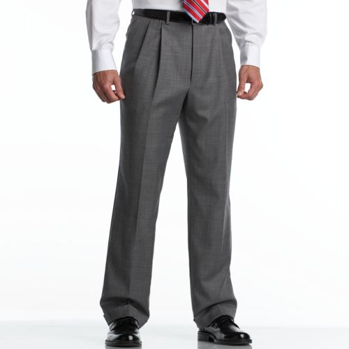Chaps Gray Sharkskin Wool Pleated Gray Suit Pants - Big and Tall