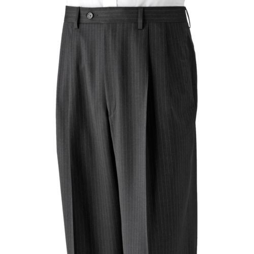 Chaps Striped Deco Wool Pleated Charcoal Suit Pants - Big and Tall