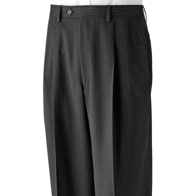 Chaps striped deco wool pleated charcoal suit pants big amp tall